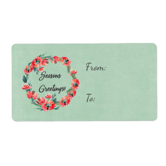 Seasons Greeting Red Floral Watercolor Wreath Shipping Label