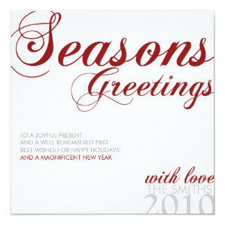 SEASONS GREETING RED WHITE AND GRAY 13 CM X 13 CM SQUARE INVITATION CARD