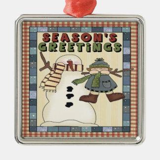 Seasons Greeting Snowman Christmas Ornament