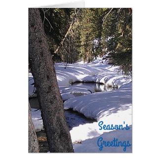 Season's Greeting Winter Stream Greeting Card