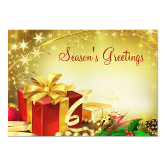 Season's Greetings 13 Cm X 18 Cm Invitation Card