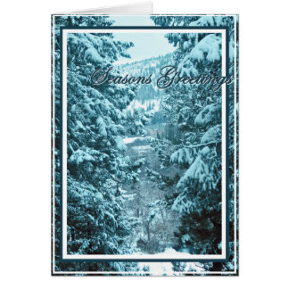 Seasons Greetings 9, Snow Covered Pine Trees Greeting Card