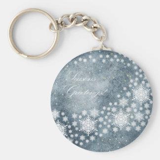 Seasons Greetings Basic Round Button Key Ring