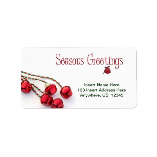 Seasons Greetings Bells Address Label
