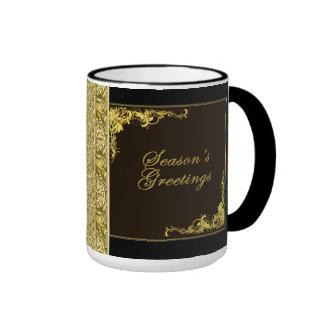 Seasons Greetings Black and Gold Holiday Mug Ringer Mug