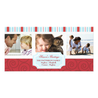 Seasons Greetings Blue & Red Holiday Photo Collage Photo Cards