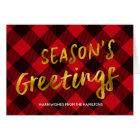 Season's Greetings Buffalo Plaid & Gold Christmas Card