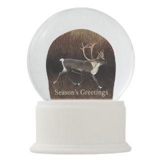 Season's Greetings - Bull Caribou (Reindeer) Snow Globe