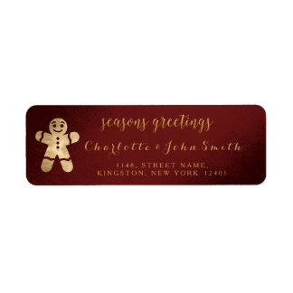 Seasons Greetings Burgundy Gold Gingerbread Man Return Address Label