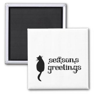 Season's Greetings Cat Silhouette Square Magnet
