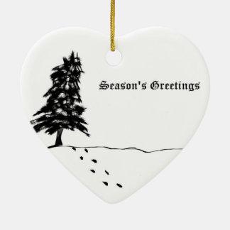 Season's Greetings Ceramic Heart Decoration