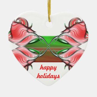 Seasons Greetings Ceramic Heart Decoration