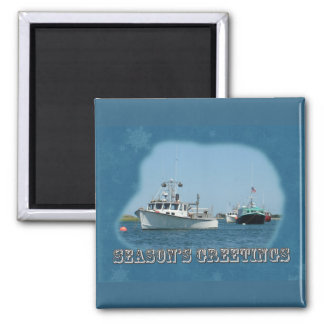 Season's Greetings - Chatham Harbor Boats Square Magnet