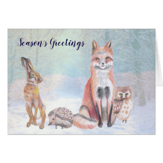 Seasons Greetings Christmas Card Forest Scene'