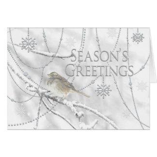 Season's Greetings - Christmas - Dreamy Snowy/Bird Card