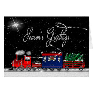 Season's Greetings (Christmas) - Snowy Night-Train Card
