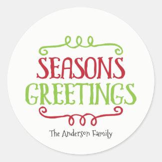 Season's Greetings Christmas Sticker Gift Tag