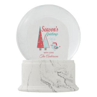 Season's Greetings Christmas Trees & Bird Holiday Snow Globe