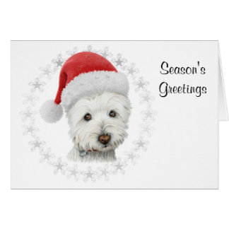Season's Greetings Christmas Westie Dog Art Card