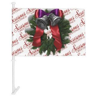Seasons Greetings Christmas Wreath Car Flag