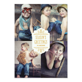 SEASON'S GREETINGS COLLAGE   HOLIDAY PHOTO CARD