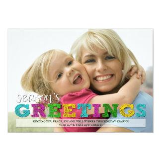 Season's Greetings Colorful Christmas Photo Card 13 Cm X 18 Cm Invitation Card
