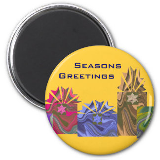 Seasons Greetings colourful boxes 6 Cm Round Magnet