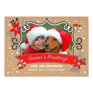 "Season's Greetings. Custom Christmas Photo Cards 5"" X 7"" Invitation Card"