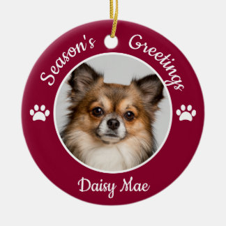 Season's Greetings Cute Dog Photo Name Year Paws Ceramic Ornament