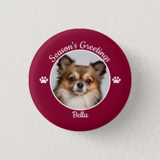 Season's Greetings Cute Dog Photo with Name Paws 3 Cm Round Badge