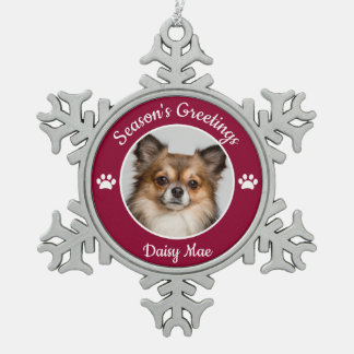 Season's Greetings Cute Dog Photo with Name Paws Snowflake Pewter Christmas Ornament