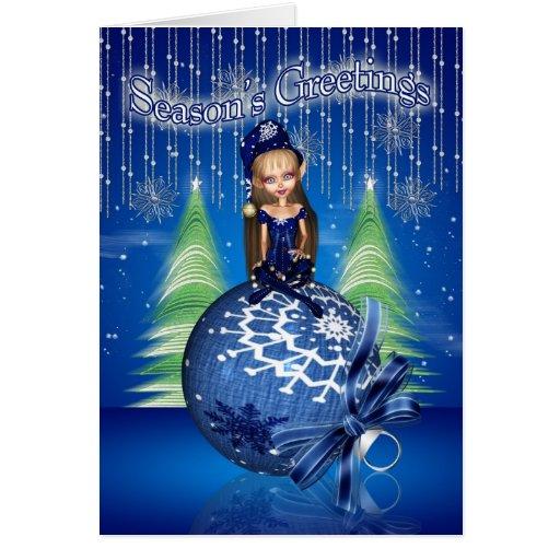 Season's Greetings - Cute Little Elf Sat On A Baub Greeting Cards