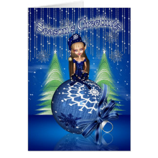 Season's Greetings - Cute Little Elf Sat On A Baub Greeting Card