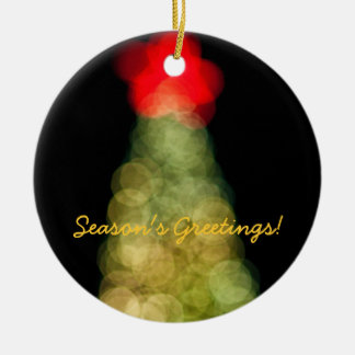 Season's Greetings! Double-Sided Ceramic Round Christmas Ornament