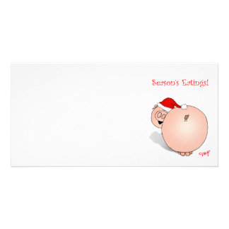 Season's Greetings (Eatings) Pig Cartoon. Personalized Photo Card