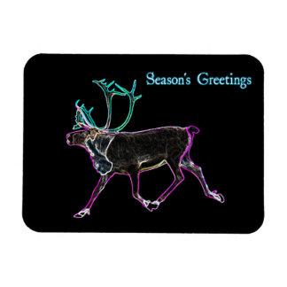 Season's Greetings - Electric Caribou Rectangular Photo Magnet
