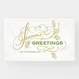 Season's Greetings Elegant Flourish Custom Holiday Banner