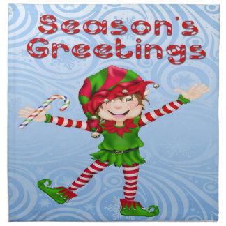 Season's Greetings Elf Cloth Napkins (set of 4)