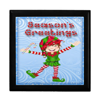Season's Greetings Elf Gift Box/Trinket Box Large Square Gift Box