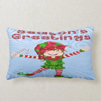 Season's Greetings Elf Lumbar Pillow Throw Cushions