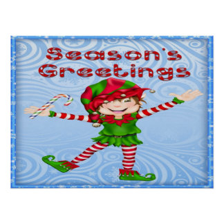 Season's Greetings Elf Poster/Print Poster