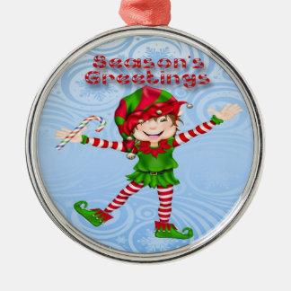 Season's Greetings Elf Premium Round Ornament
