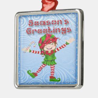 Season's Greetings Elf Premium Square Ornament