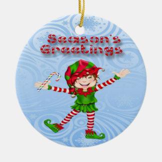 Season's Greetings Elf Round Ornament