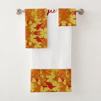 Season's Greetings Fall Leaves Bathroom Towel Set