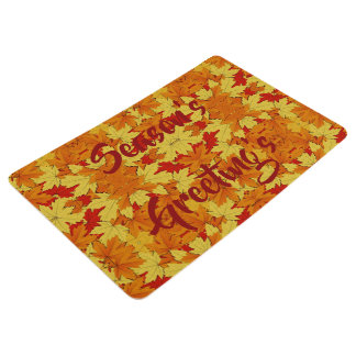 Season's Greeting's Fall Leaves Holiday Floor Mat