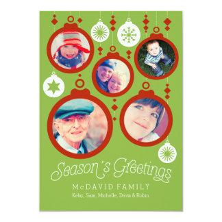 Season's Greetings Family Ornaments 13 Cm X 18 Cm Invitation Card