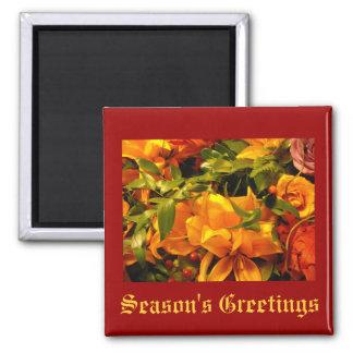 Season's Greetings Flowers Square Magnet