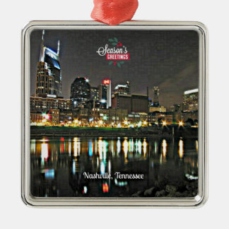 Season's Greetings from Nashville, Tennessee Silver-Colored Square Decoration