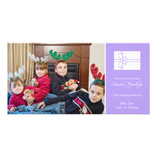 Season's Greetings Gift Box Photo Cards (Violet)